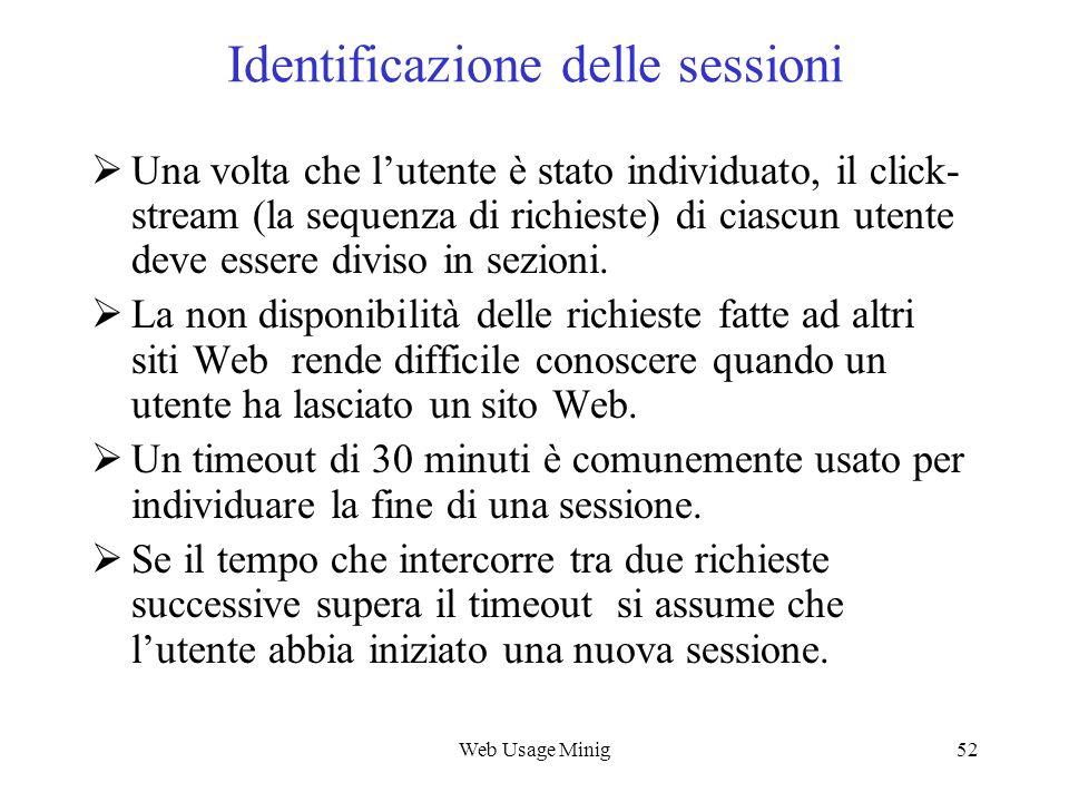 Web Usage Minig52 Identificazione delle sessioni Una volta che lutente è stato individuato, il click- stream (la sequenza di richieste) di ciascun ute