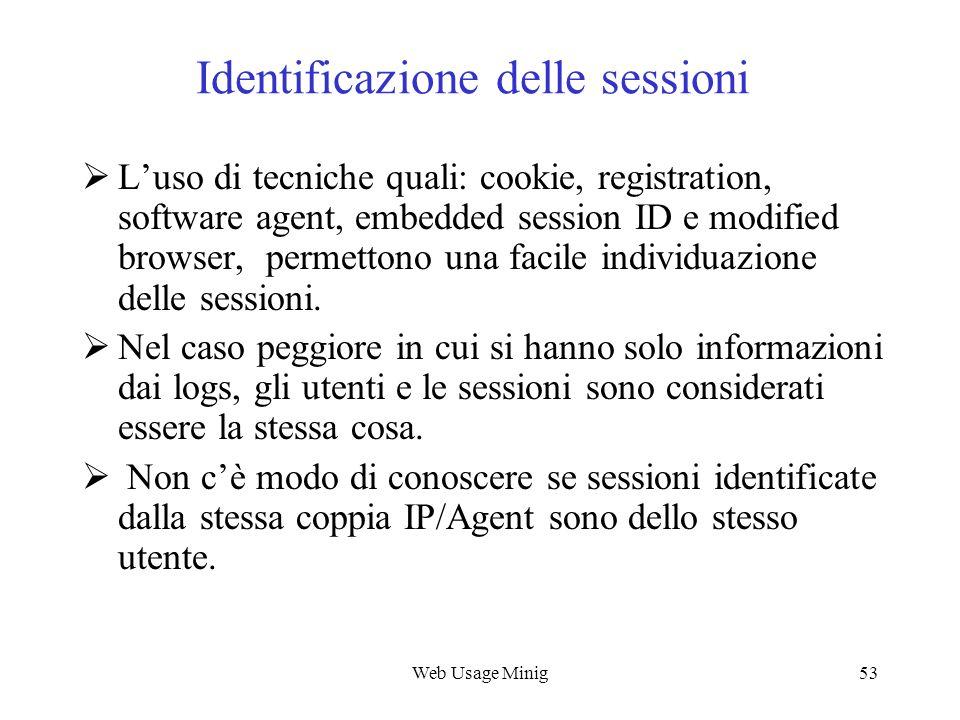 Web Usage Minig53 Identificazione delle sessioni Luso di tecniche quali: cookie, registration, software agent, embedded session ID e modified browser,