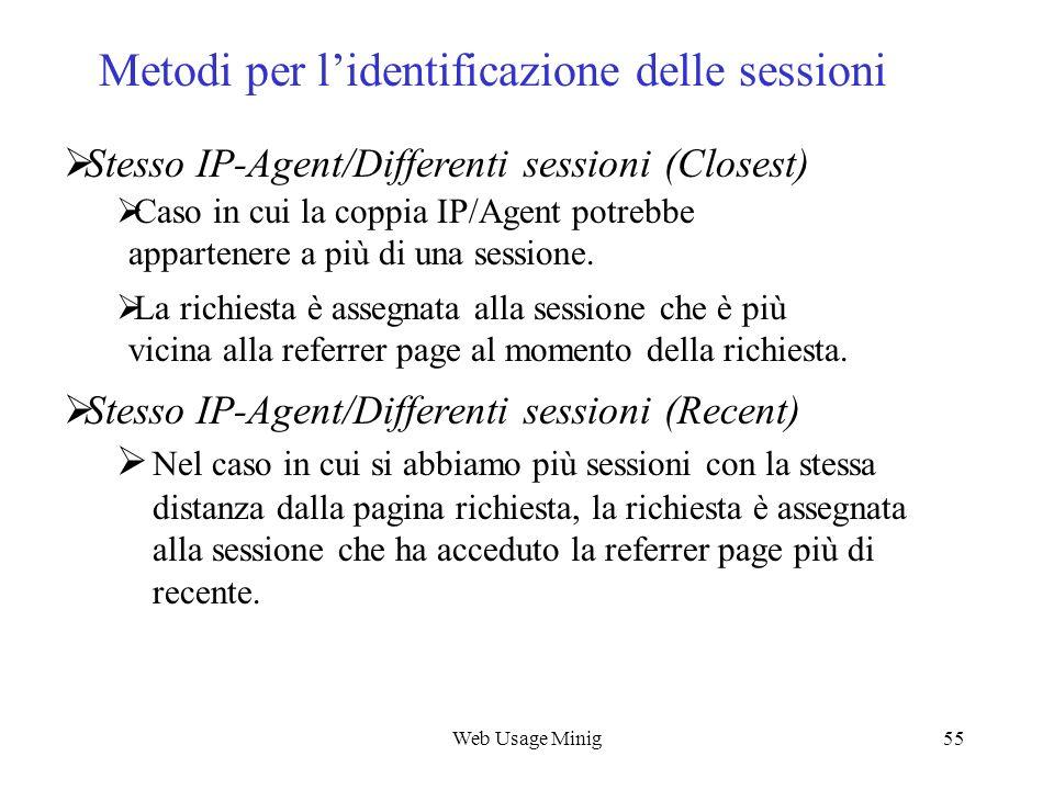 Web Usage Minig55 Stesso IP-Agent/Differenti sessioni (Closest) Caso in cui la coppia IP/Agent potrebbe appartenere a più di una sessione. La richiest