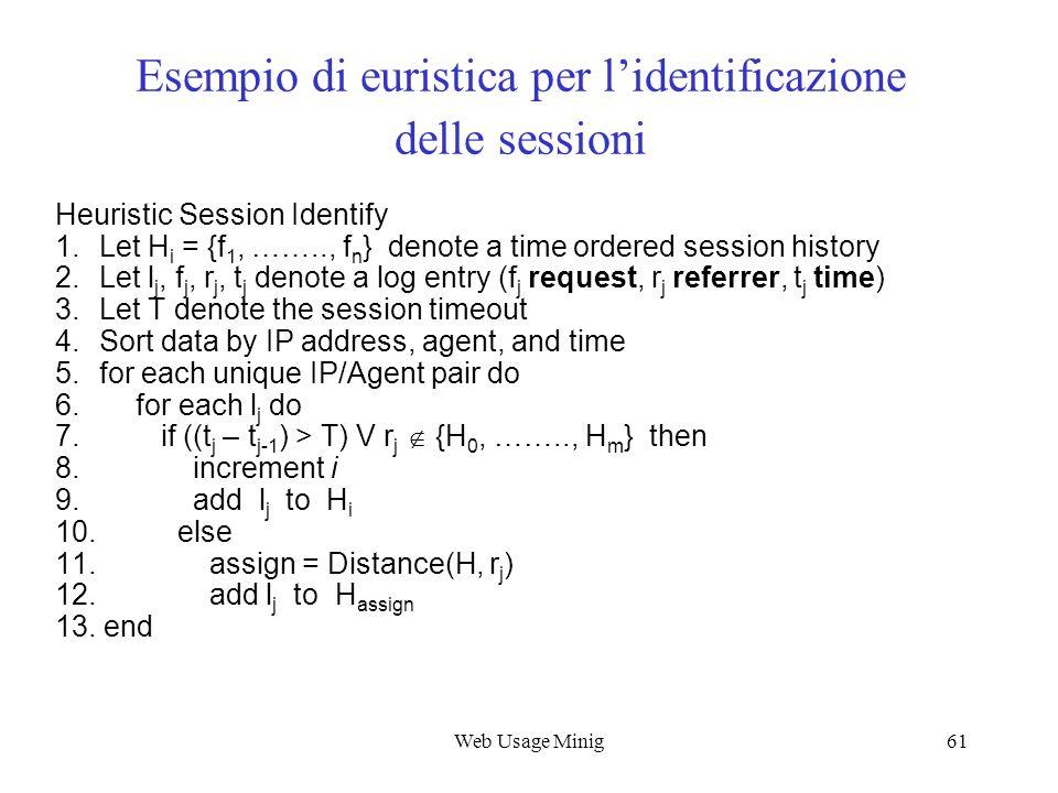 Web Usage Minig61 Esempio di euristica per lidentificazione delle sessioni Heuristic Session Identify 1. Let H i = {f 1, …….., f n } denote a time ord