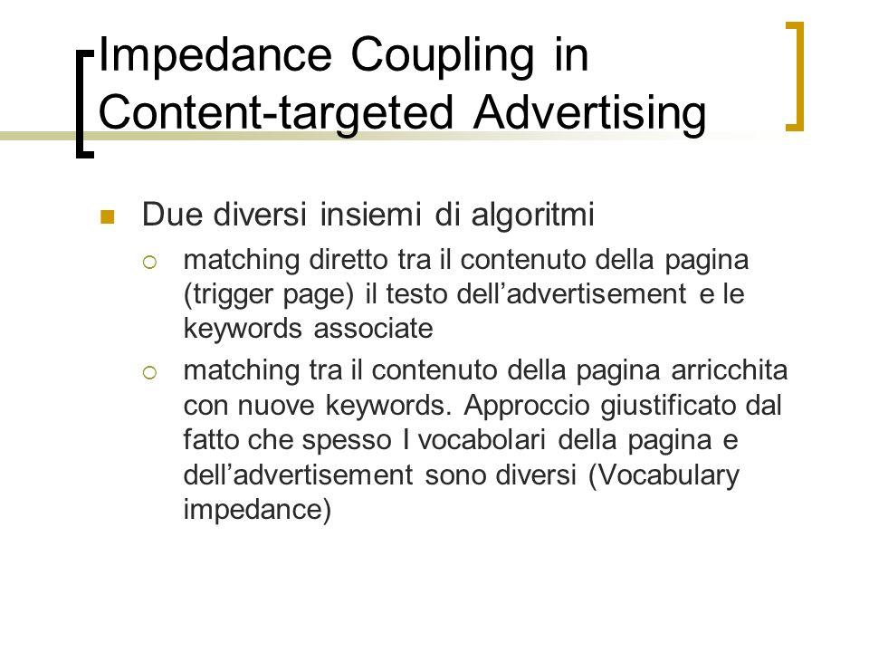 Impedance Coupling in Content-targeted Advertising Due diversi insiemi di algoritmi matching diretto tra il contenuto della pagina (trigger page) il t