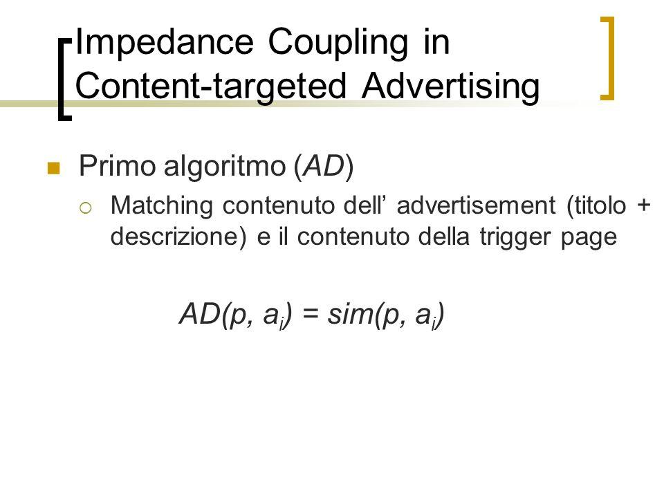 Primo algoritmo (AD) Matching contenuto dell advertisement (titolo + descrizione) e il contenuto della trigger page AD(p, a i ) = sim(p, a i )