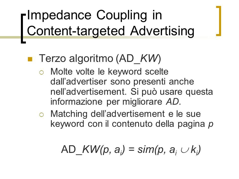Impedance Coupling in Content-targeted Advertising Terzo algoritmo (AD_KW) Molte volte le keyword scelte dalladvertiser sono presenti anche nelladvert