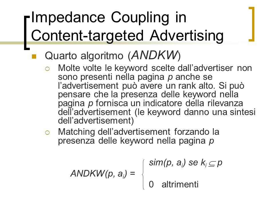 Impedance Coupling in Content-targeted Advertising Quarto algoritmo ( ANDKW ) Molte volte le keyword scelte dalladvertiser non sono presenti nella pag