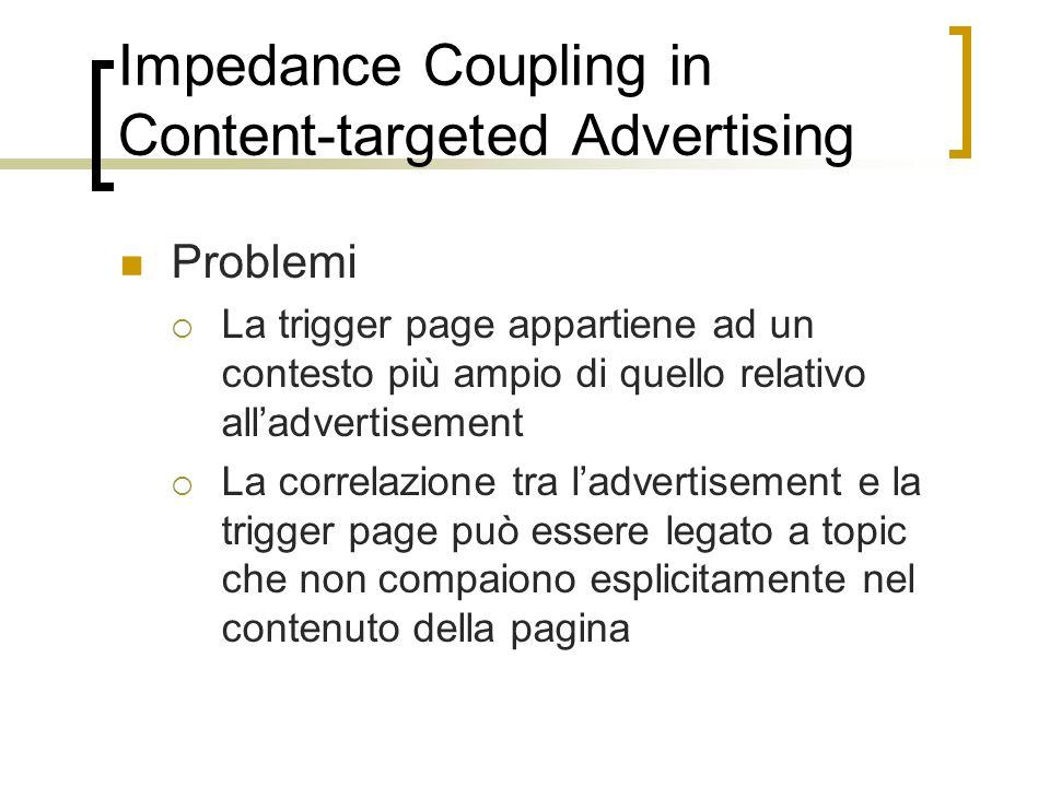 Impedance Coupling in Content-targeted Advertising Problemi La trigger page appartiene ad un contesto più ampio di quello relativo alladvertisement La