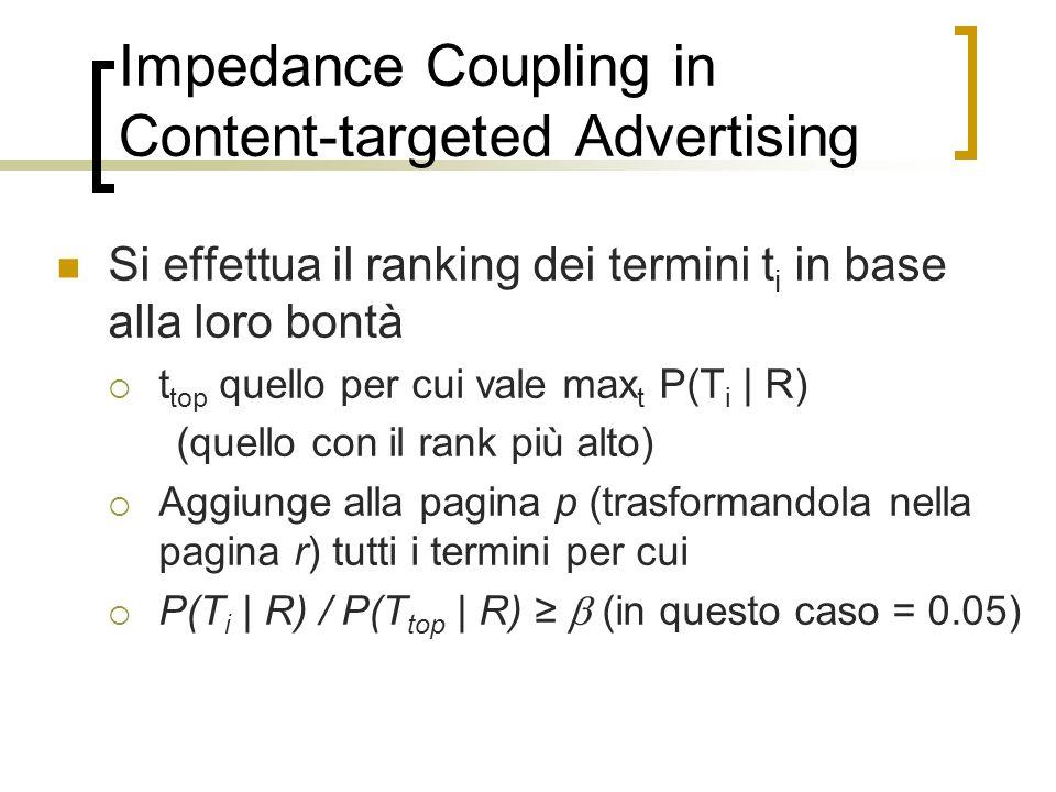 Impedance Coupling in Content-targeted Advertising Si effettua il ranking dei termini t i in base alla loro bontà t top quello per cui vale max t P(T