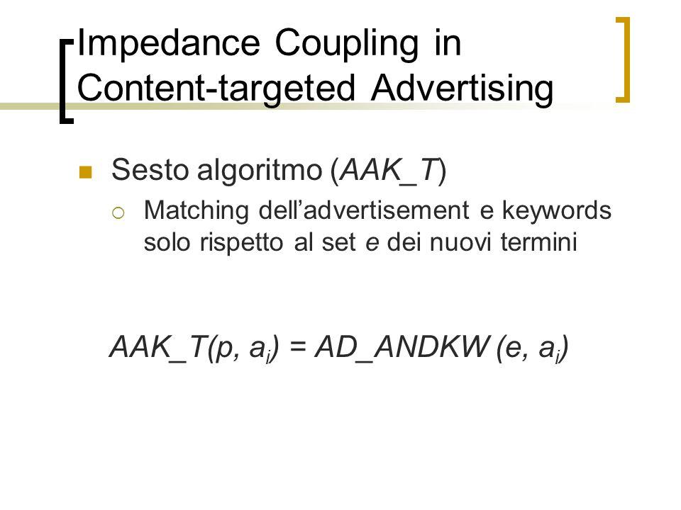 Impedance Coupling in Content-targeted Advertising Sesto algoritmo (AAK_T) Matching delladvertisement e keywords solo rispetto al set e dei nuovi term