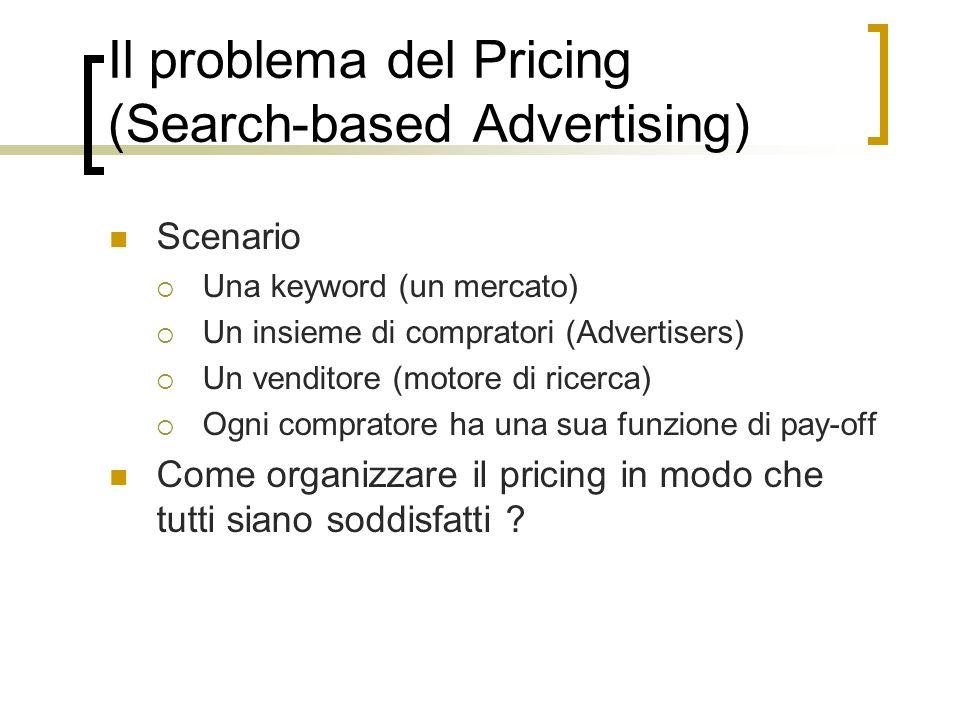 Il problema del Pricing (Search-based Advertising) Scenario Una keyword (un mercato) Un insieme di compratori (Advertisers) Un venditore (motore di ri