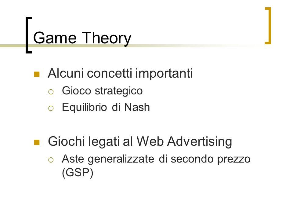 Game Theory Alcuni concetti importanti Gioco strategico Equilibrio di Nash Giochi legati al Web Advertising Aste generalizzate di secondo prezzo (GSP)