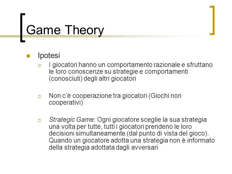 Game Theory Ipotesi I giocatori hanno un comportamento razionale e sfruttano le loro conoscenze su strategie e comportamenti (conosciuti) degli altri