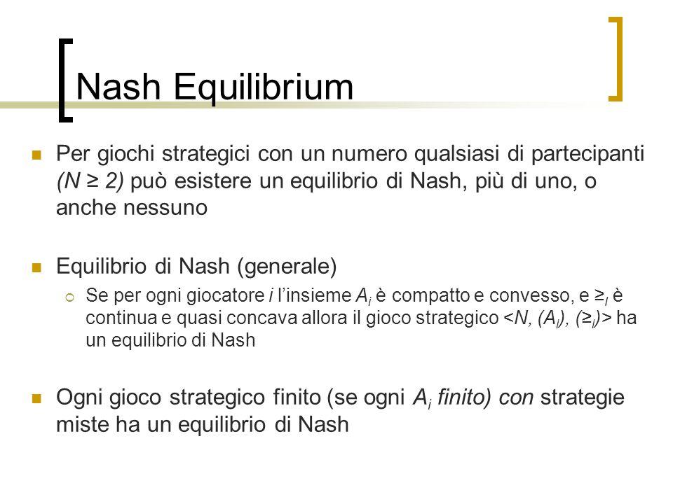 Nash Equilibrium Per giochi strategici con un numero qualsiasi di partecipanti (N 2) può esistere un equilibrio di Nash, più di uno, o anche nessuno E