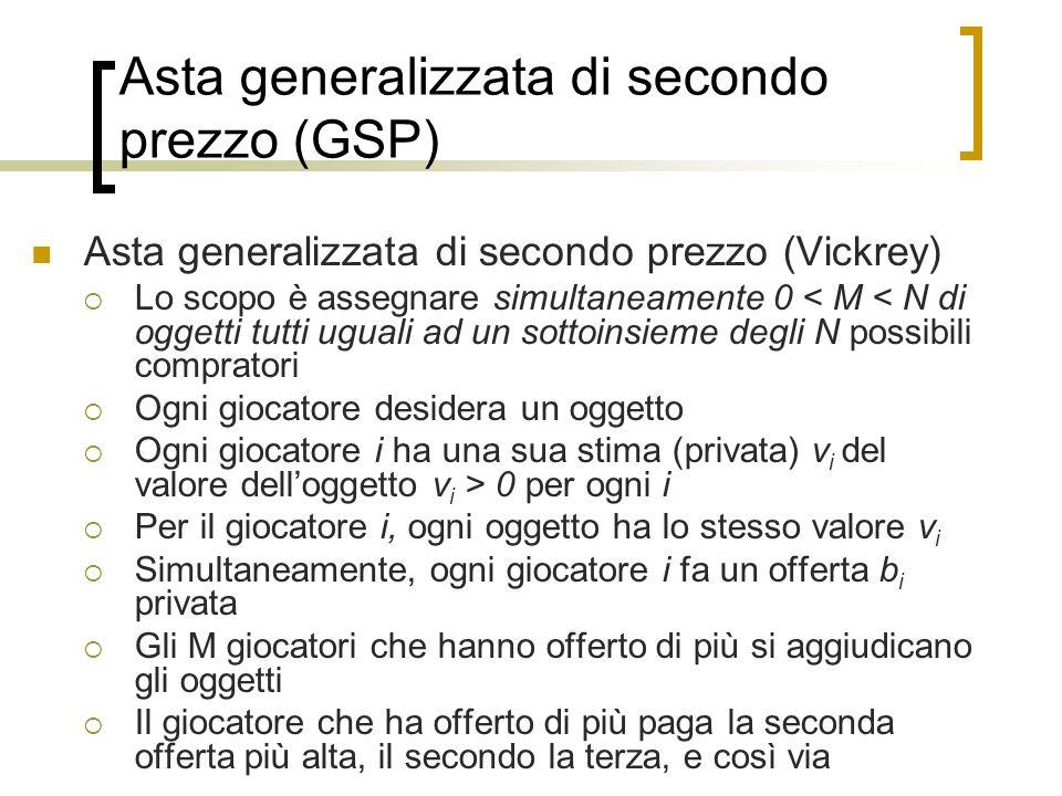 Asta generalizzata di secondo prezzo (GSP) Asta generalizzata di secondo prezzo (Vickrey) Lo scopo è assegnare simultaneamente 0 < M < N di oggetti tu