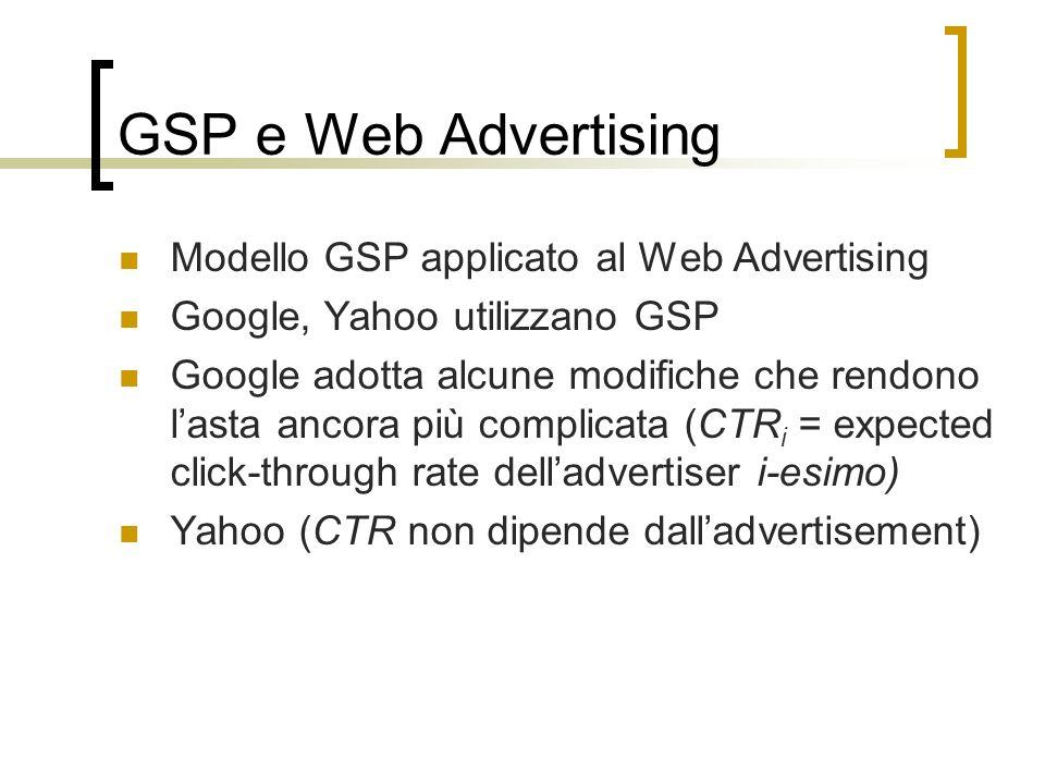 GSP e Web Advertising Modello GSP applicato al Web Advertising Google, Yahoo utilizzano GSP Google adotta alcune modifiche che rendono lasta ancora pi