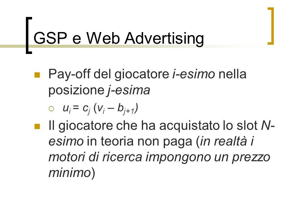 GSP e Web Advertising Pay-off del giocatore i-esimo nella posizione j-esima u i = c j (v i – b j+1 ) Il giocatore che ha acquistato lo slot N- esimo i