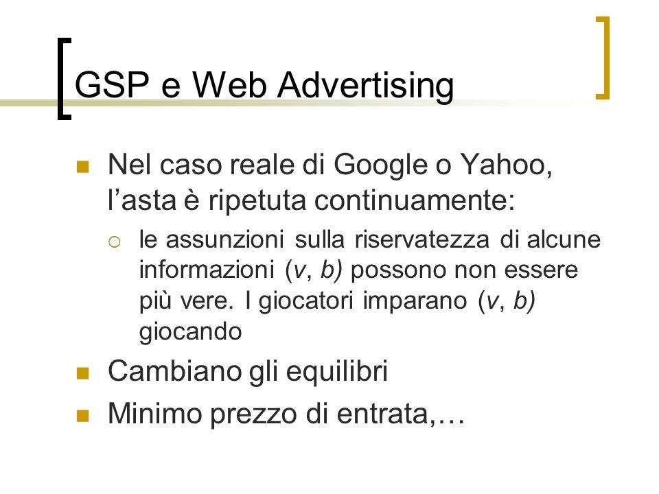GSP e Web Advertising Nel caso reale di Google o Yahoo, lasta è ripetuta continuamente: le assunzioni sulla riservatezza di alcune informazioni (v, b)