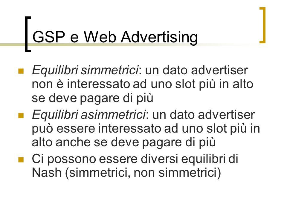 GSP e Web Advertising Equilibri simmetrici: un dato advertiser non è interessato ad uno slot più in alto se deve pagare di più Equilibri asimmetrici: