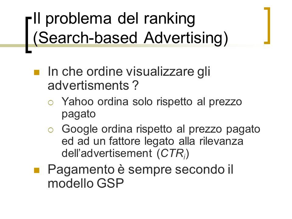 Il problema del ranking (Search-based Advertising) In che ordine visualizzare gli advertisments ? Yahoo ordina solo rispetto al prezzo pagato Google o