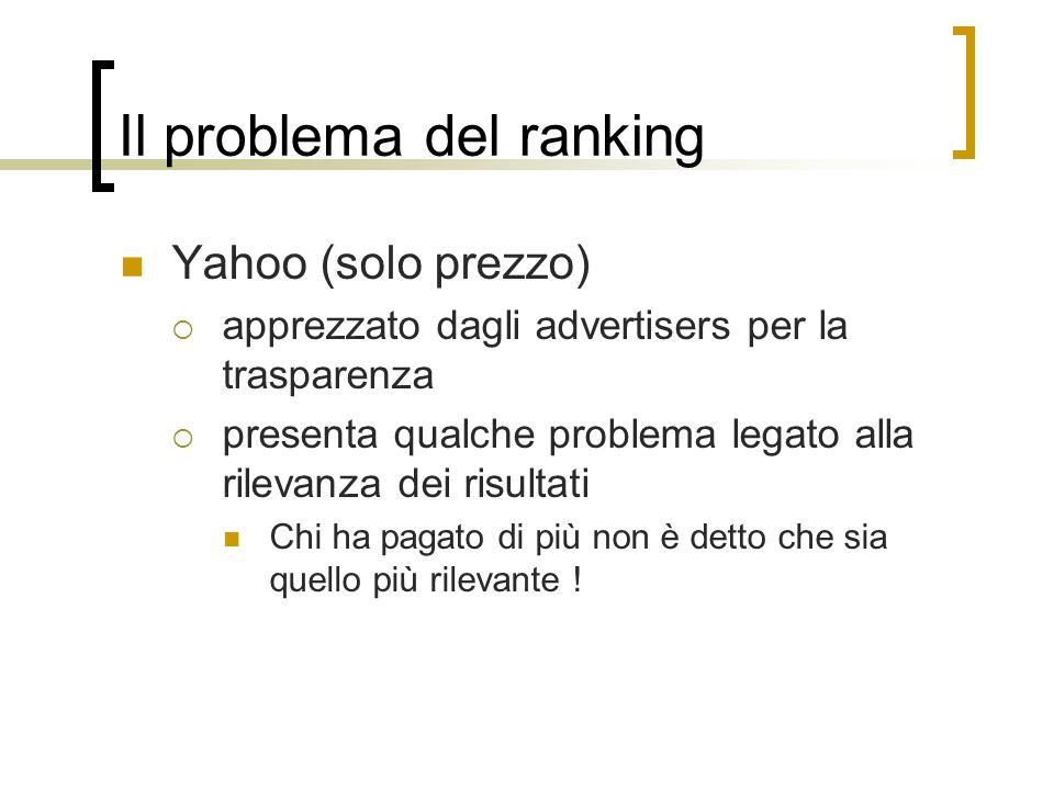 Il problema del ranking Yahoo (solo prezzo) apprezzato dagli advertisers per la trasparenza presenta qualche problema legato alla rilevanza dei risult