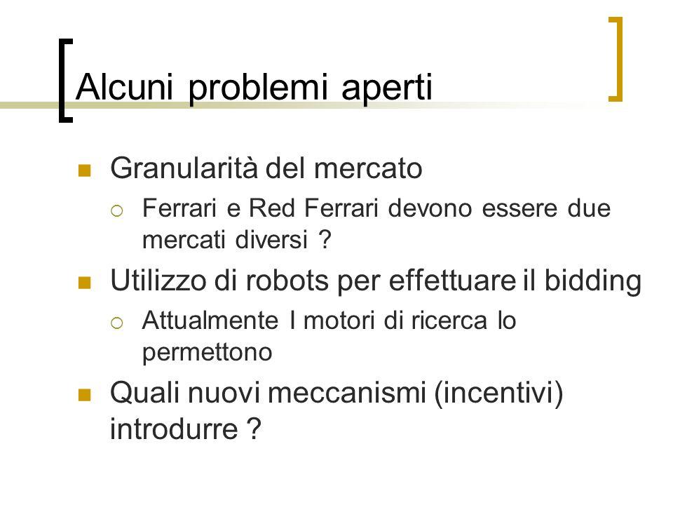 Alcuni problemi aperti Granularità del mercato Ferrari e Red Ferrari devono essere due mercati diversi ? Utilizzo di robots per effettuare il bidding