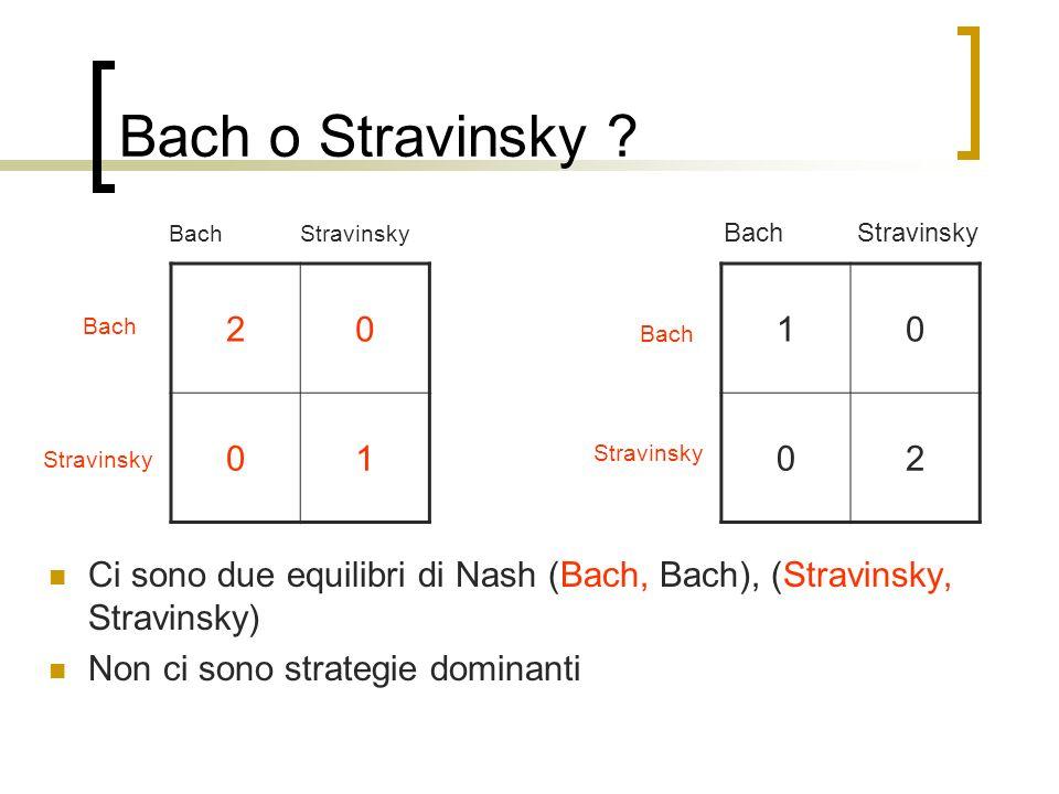 Bach o Stravinsky ? 10 02 20 01 Bach StravinskyBach Stravinsky BachStravinsky Bach Stravinsky Ci sono due equilibri di Nash (Bach, Bach), (Stravinsky,