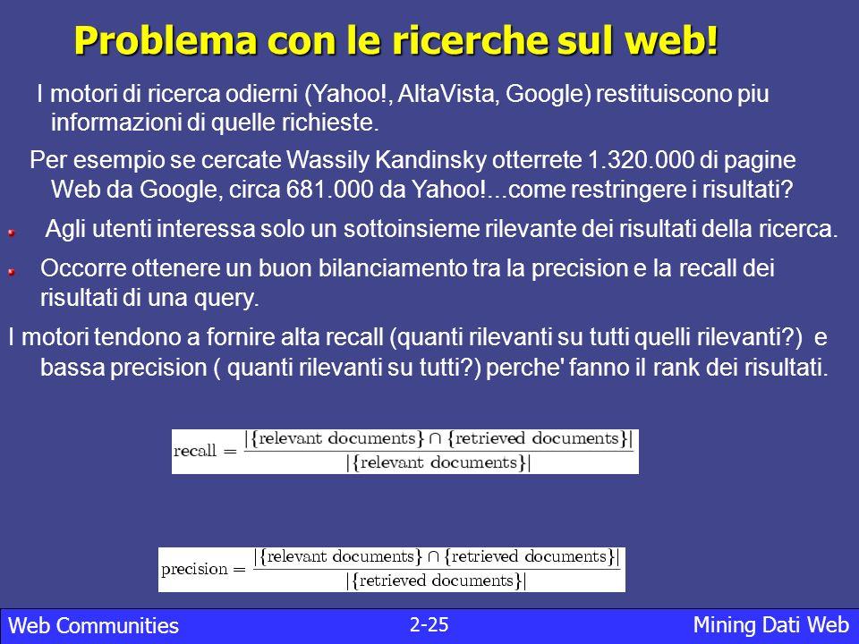 2-25 Mining Dati Web Web Communities Problema con le ricerche sul web.