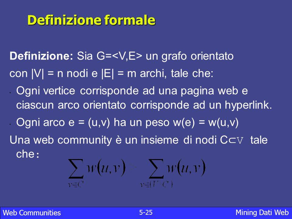 6-25 Mining Dati Web Web Communities Trovare le communities: Teorema.