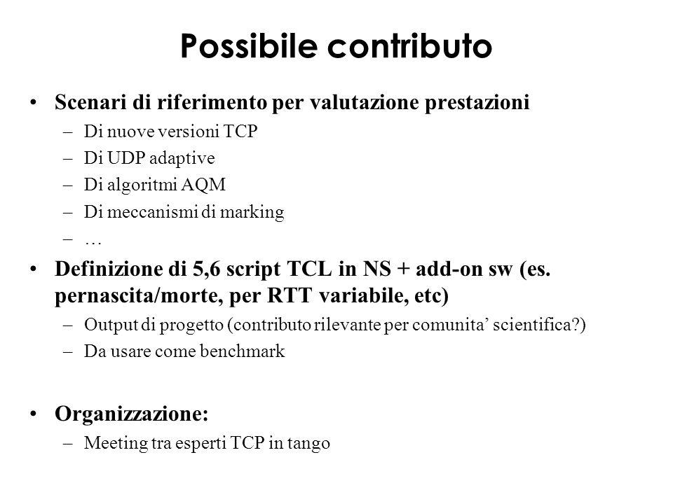 Possibile contributo Scenari di riferimento per valutazione prestazioni –Di nuove versioni TCP –Di UDP adaptive –Di algoritmi AQM –Di meccanismi di marking –… Definizione di 5,6 script TCL in NS + add-on sw (es.