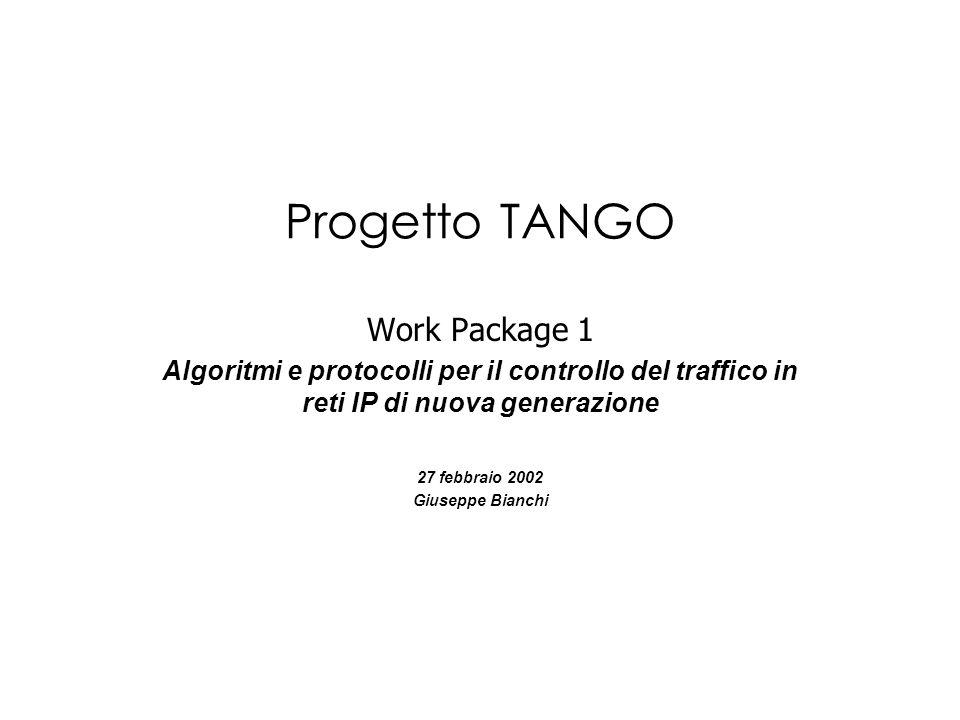 Progetto TANGO Work Package 1 Algoritmi e protocolli per il controllo del traffico in reti IP di nuova generazione 27 febbraio 2002 Giuseppe Bianchi