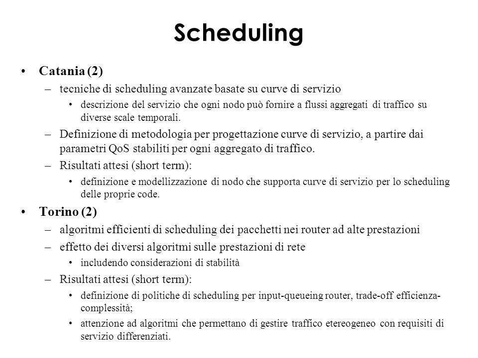 Scheduling Catania (2) –tecniche di scheduling avanzate basate su curve di servizio descrizione del servizio che ogni nodo può fornire a flussi aggregati di traffico su diverse scale temporali.
