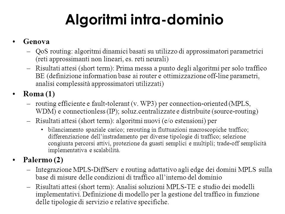 Algoritmi intra-dominio Genova –QoS routing: algoritmi dinamici basati su utilizzo di approssimatori parametrici (reti approssimanti non lineari, es.