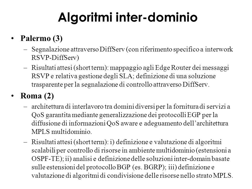 Algoritmi inter-dominio Palermo (3) –Segnalazione attraverso DiffServ (con riferimento specifico a interwork RSVP-DiffServ) –Risultati attesi (short term): mappaggio agli Edge Router dei messaggi RSVP e relativa gestione degli SLA; definizione di una soluzione trasparente per la segnalazione di controllo attraverso DiffServ.