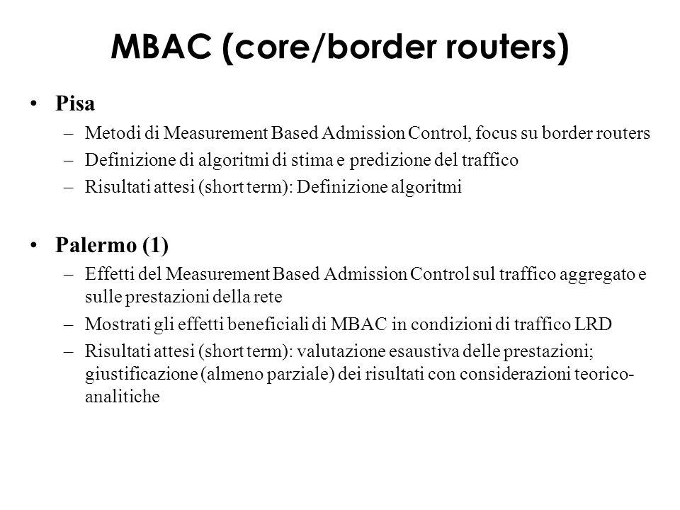 MBAC (core/border routers) Pisa –Metodi di Measurement Based Admission Control, focus su border routers –Definizione di algoritmi di stima e predizione del traffico –Risultati attesi (short term): Definizione algoritmi Palermo (1) –Effetti del Measurement Based Admission Control sul traffico aggregato e sulle prestazioni della rete –Mostrati gli effetti beneficiali di MBAC in condizioni di traffico LRD –Risultati attesi (short term): valutazione esaustiva delle prestazioni; giustificazione (almeno parziale) dei risultati con considerazioni teorico- analitiche