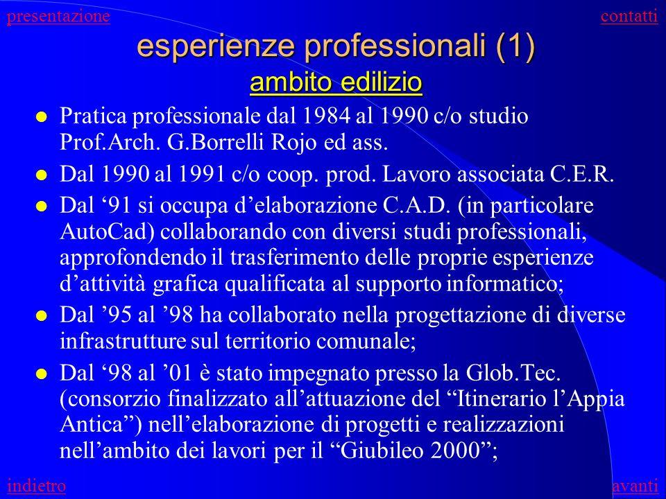 conoscenze informatiche (2) Conoscenza dei fondamenti di programmazione; Nel 2001 ha frequentato un corso di formazione per programmatori Java della d
