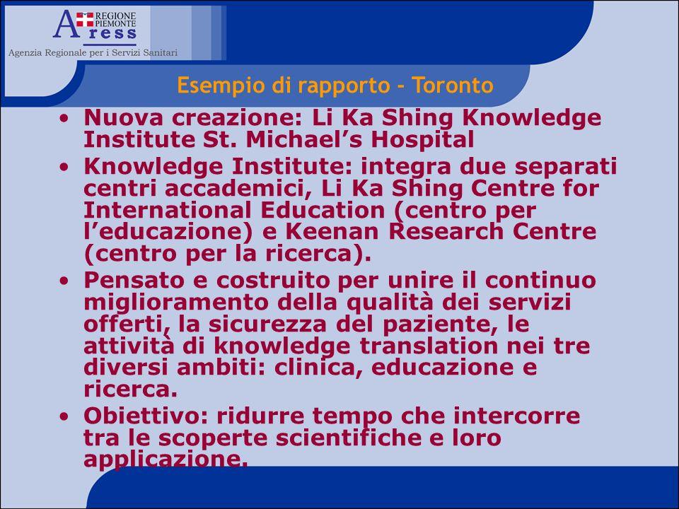 Nuova creazione: Li Ka Shing Knowledge Institute St. Michaels Hospital Knowledge Institute: integra due separati centri accademici, Li Ka Shing Centre