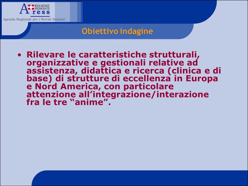 Rilevare le caratteristiche strutturali, organizzative e gestionali relative ad assistenza, didattica e ricerca (clinica e di base) di strutture di ec
