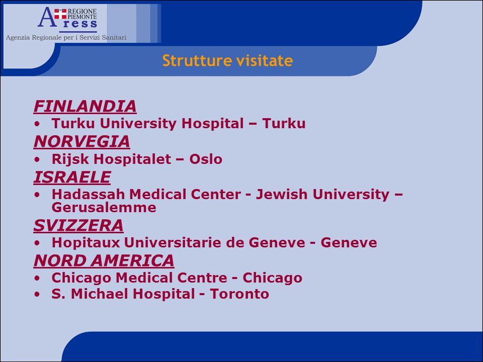 FINLANDIA Turku University Hospital – Turku NORVEGIA Rijsk Hospitalet – Oslo ISRAELE Hadassah Medical Center - Jewish University – Gerusalemme SVIZZER