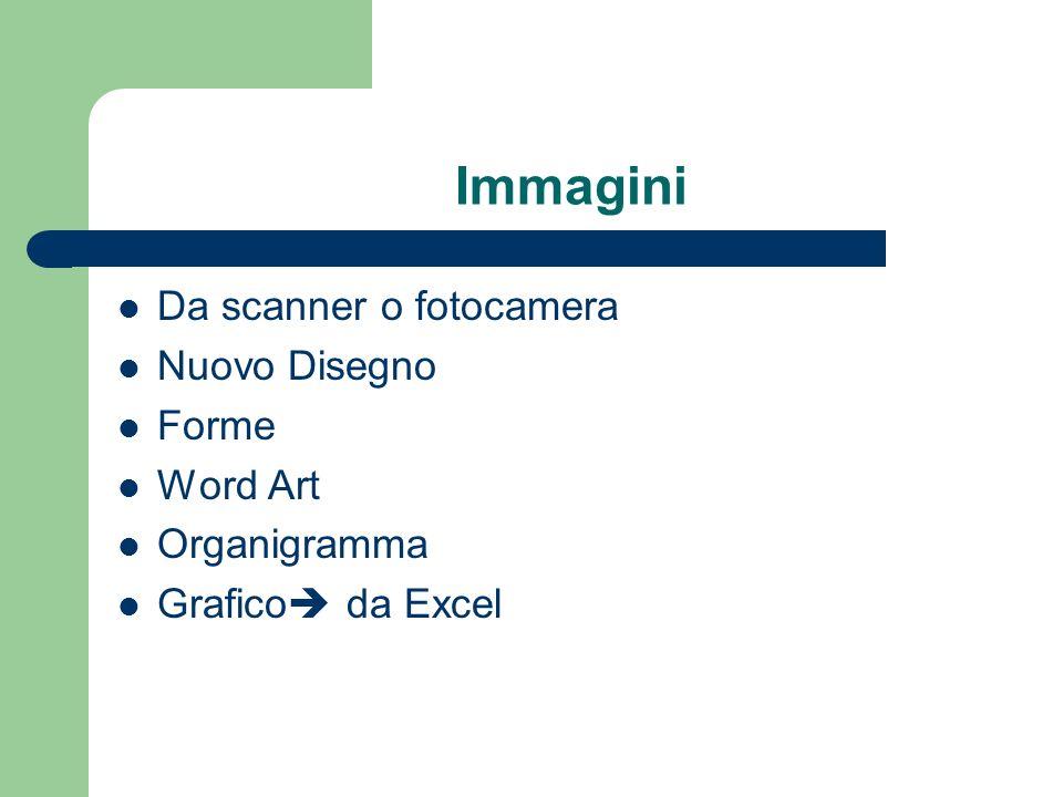 Immagini Da scanner o fotocamera Nuovo Disegno Forme Word Art Organigramma Grafico da Excel