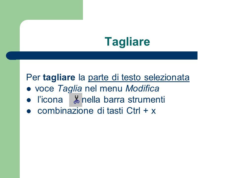 Tagliare Per tagliare la parte di testo selezionata voce Taglia nel menu Modifica licona nella barra strumenti combinazione di tasti Ctrl + x