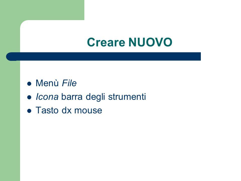 Creare NUOVO Menù File Icona barra degli strumenti Tasto dx mouse