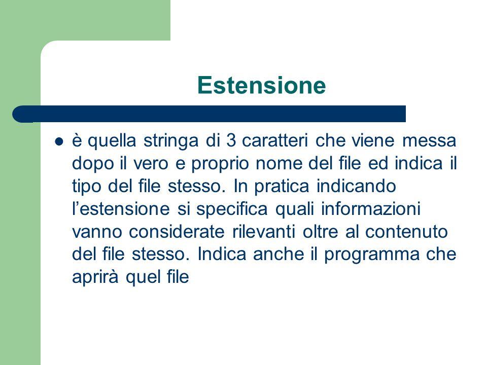 Estensione è quella stringa di 3 caratteri che viene messa dopo il vero e proprio nome del file ed indica il tipo del file stesso.