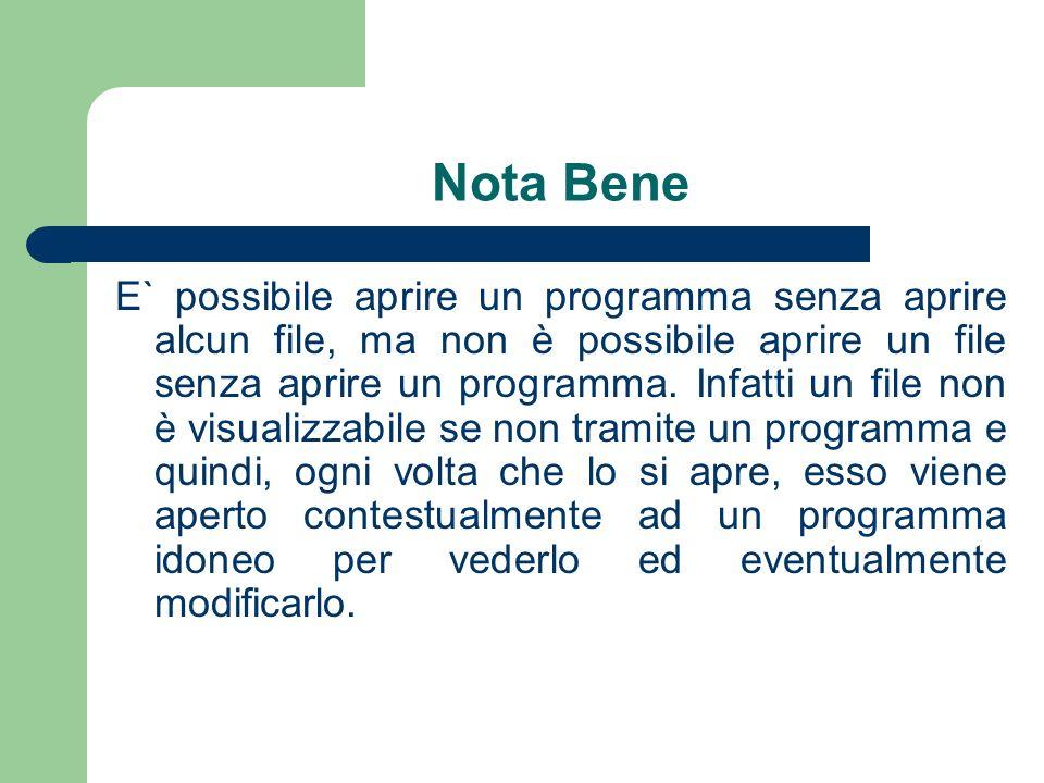 Nota Bene E` possibile aprire un programma senza aprire alcun file, ma non è possibile aprire un file senza aprire un programma.