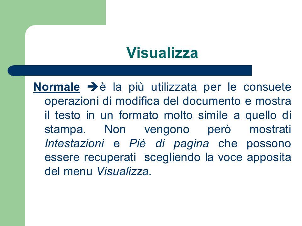 Visualizza Normale è la più utilizzata per le consuete operazioni di modifica del documento e mostra il testo in un formato molto simile a quello di stampa.