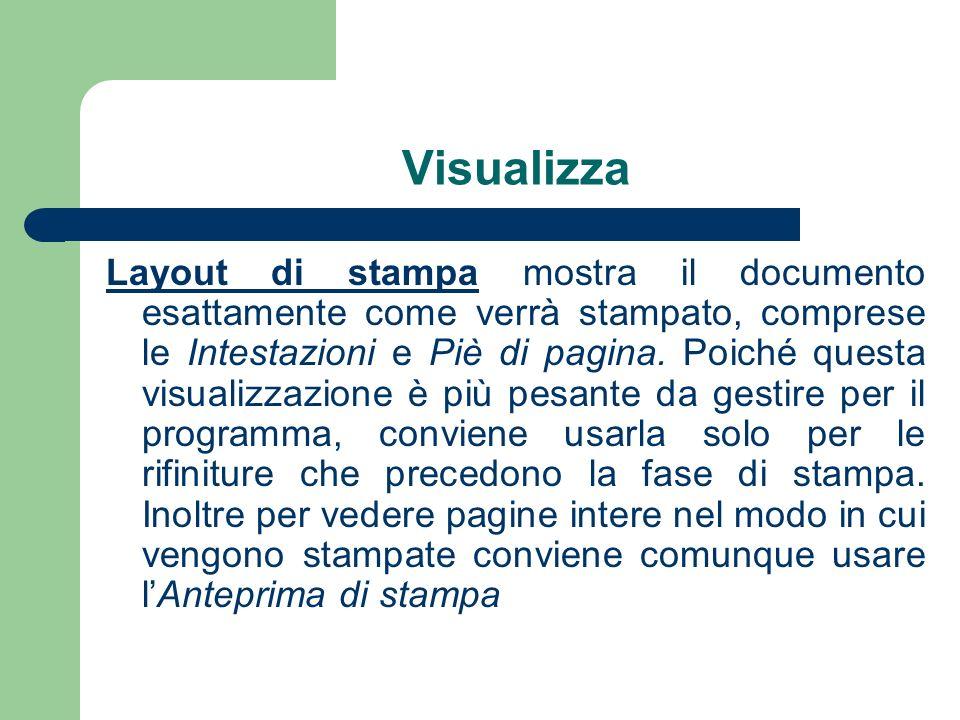 Visualizza Layout di stampa mostra il documento esattamente come verrà stampato, comprese le Intestazioni e Piè di pagina.