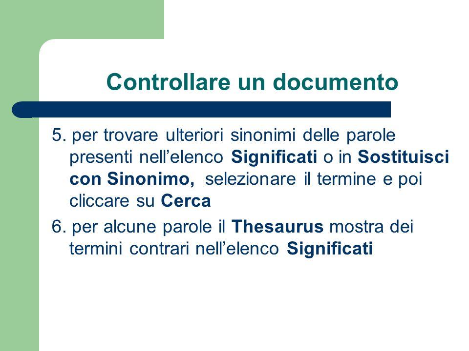 Controllare un documento 5.