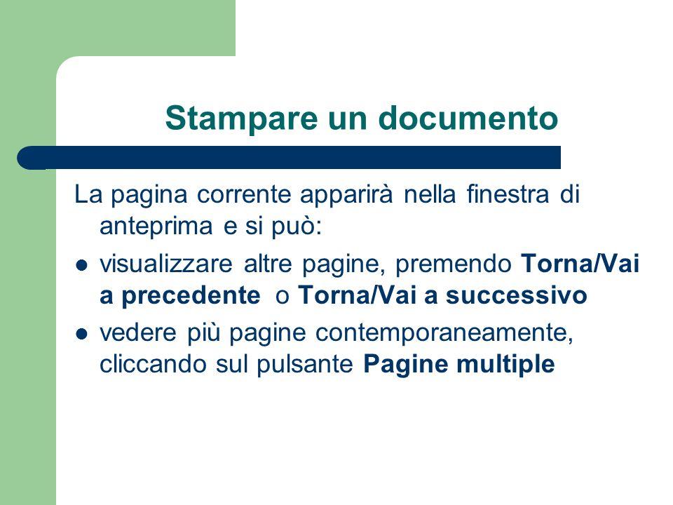 Stampare un documento La pagina corrente apparirà nella finestra di anteprima e si può: visualizzare altre pagine, premendo Torna/Vai a precedente o Torna/Vai a successivo vedere più pagine contemporaneamente, cliccando sul pulsante Pagine multiple