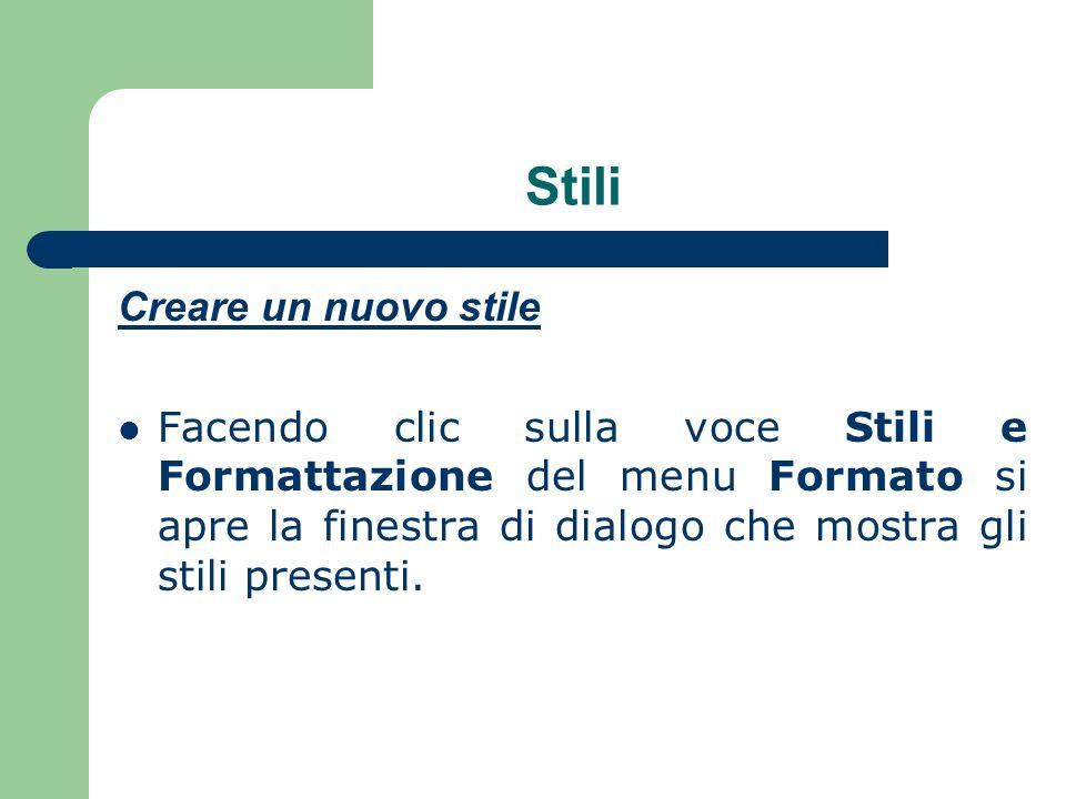Stili Creare un nuovo stile Facendo clic sulla voce Stili e Formattazione del menu Formato si apre la finestra di dialogo che mostra gli stili presenti.