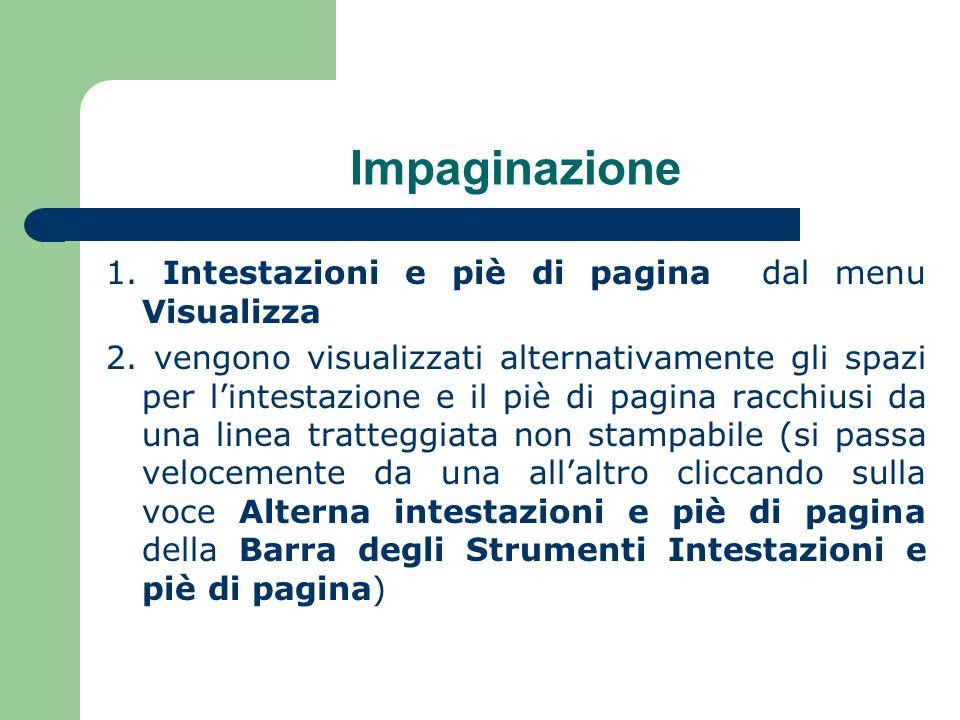 Impaginazione 1.Intestazioni e piè di pagina dal menu Visualizza 2.