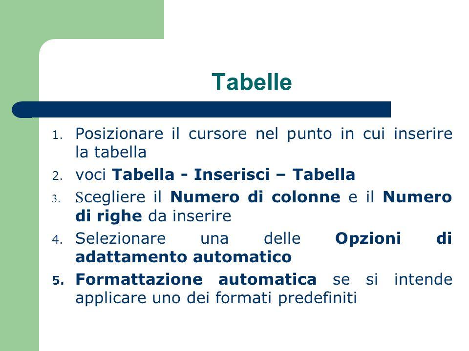 Tabelle 1.Posizionare il cursore nel punto in cui inserire la tabella 2.