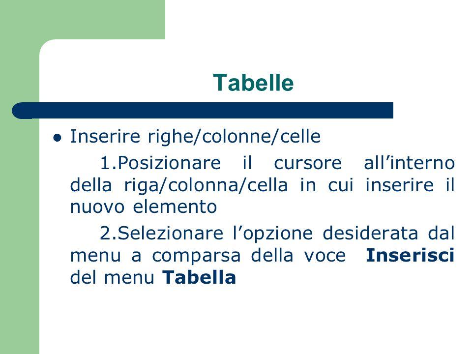 Tabelle Inserire righe/colonne/celle 1.Posizionare il cursore allinterno della riga/colonna/cella in cui inserire il nuovo elemento 2.Selezionare lopzione desiderata dal menu a comparsa della voce Inserisci del menu Tabella