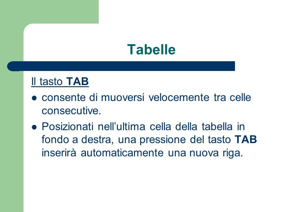Tabelle Il tasto TAB consente di muoversi velocemente tra celle consecutive.